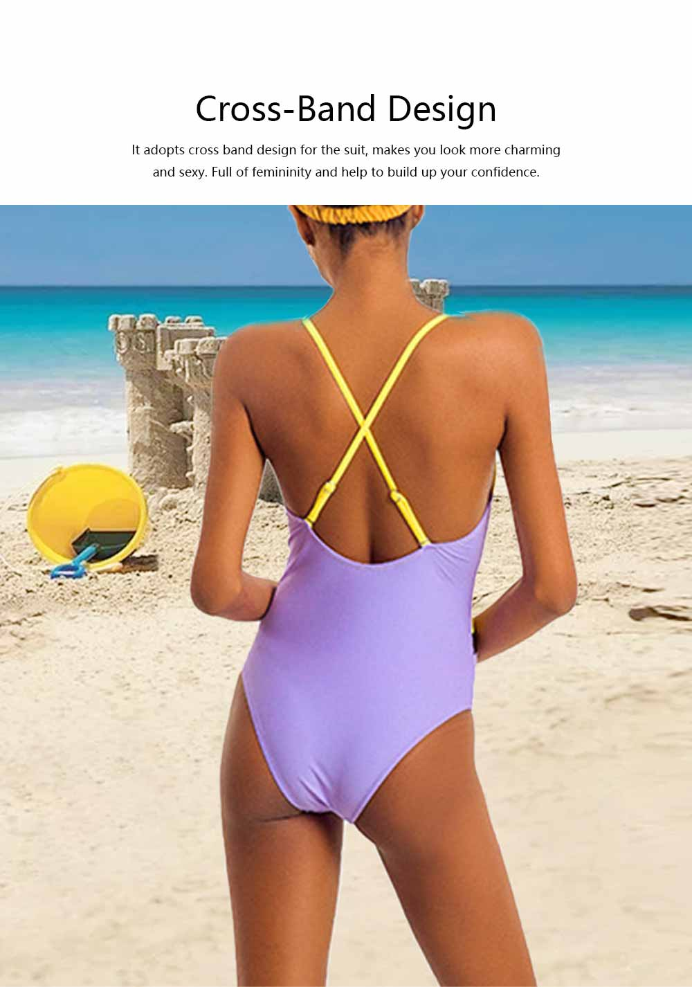 Swimming Suit with Simple Contrast Color Gauze Patch Piece, One-Piece Swimsuit Triangle Lady Swimsuit, Round Neck Bathing Suits for Women 2
