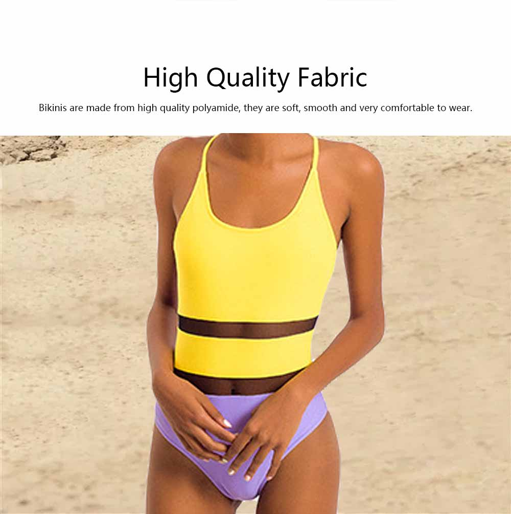 Swimming Suit with Simple Contrast Color Gauze Patch Piece, One-Piece Swimsuit Triangle Lady Swimsuit, Round Neck Bathing Suits for Women 3