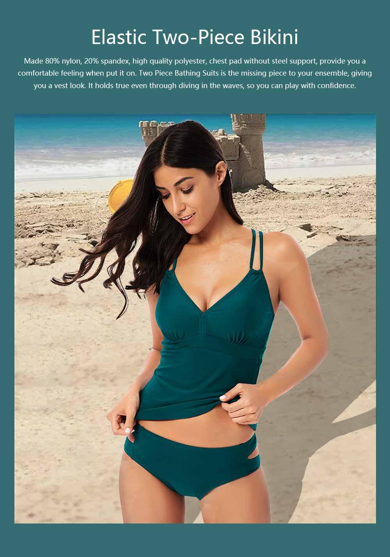 Women Cross Straps Bikini, Removeable Soft Cup Bikini, High Elastic Two Piece Swimming Suits for Ladies Girls 0