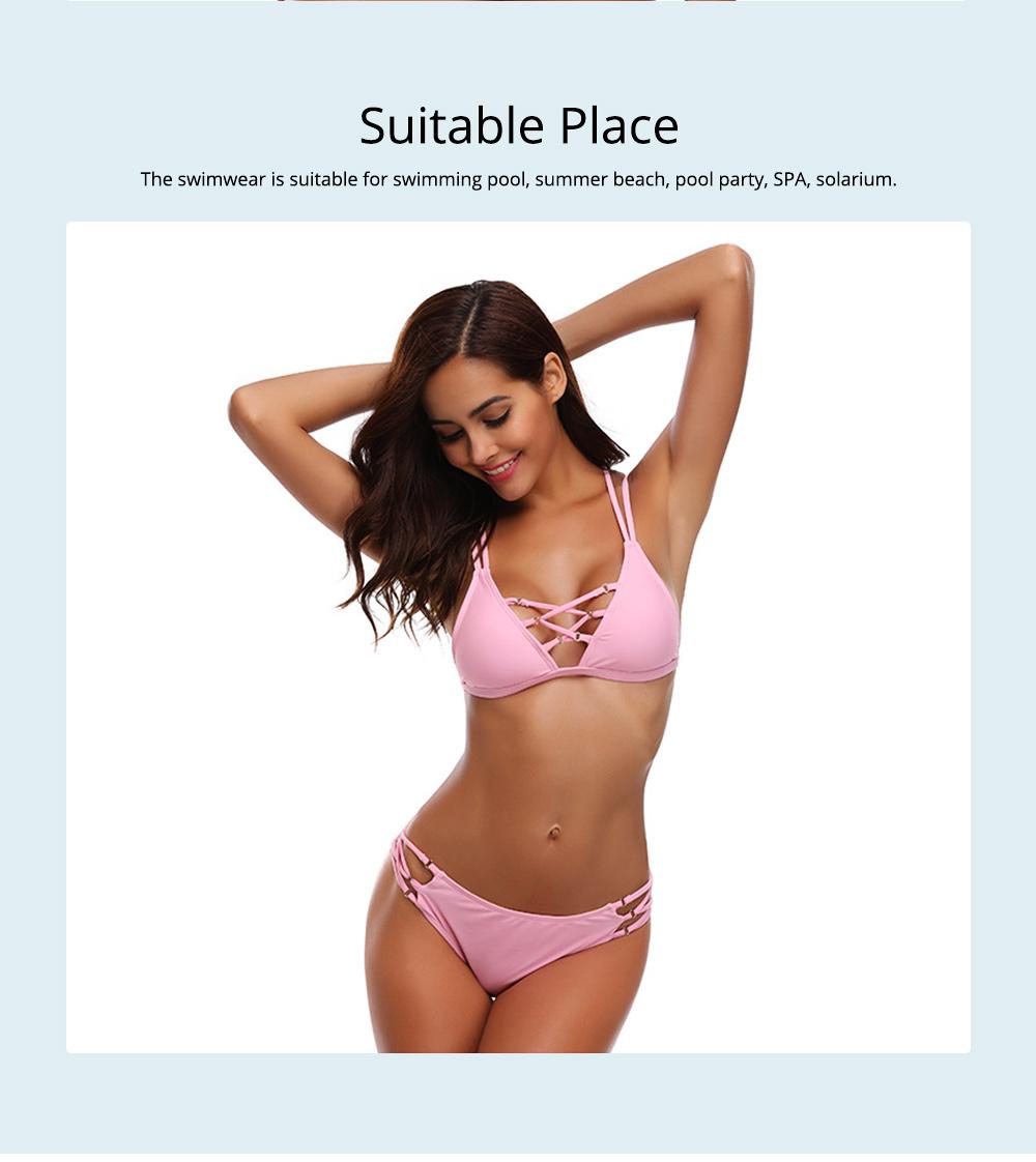 Women's Sexy Bikini with Detachable Padded Cutout Bikini Set Two Piece Swimsuit with Special Top & Bottom Ties Swimwear 5