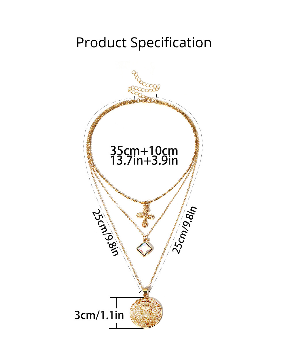 Gold Cross Pendant Necklace, Fashionable Gold Plated Choker Vintage Layered Necklace for Women 2019 6
