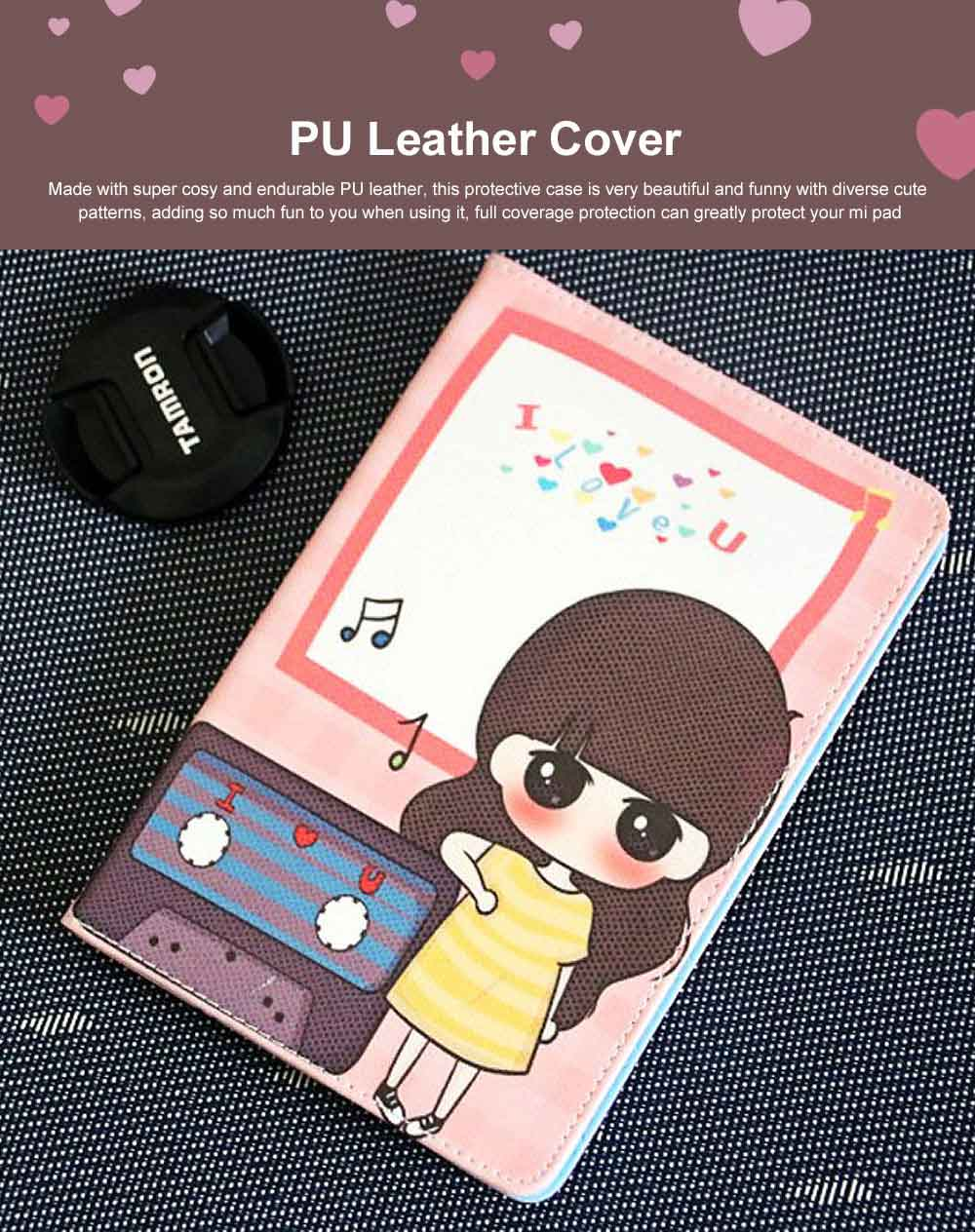 Universal Tablet Case PU Leather Full Protection Flip Cover with Cute Pattern Compatible for Xiaomi Mi Pad 1 0
