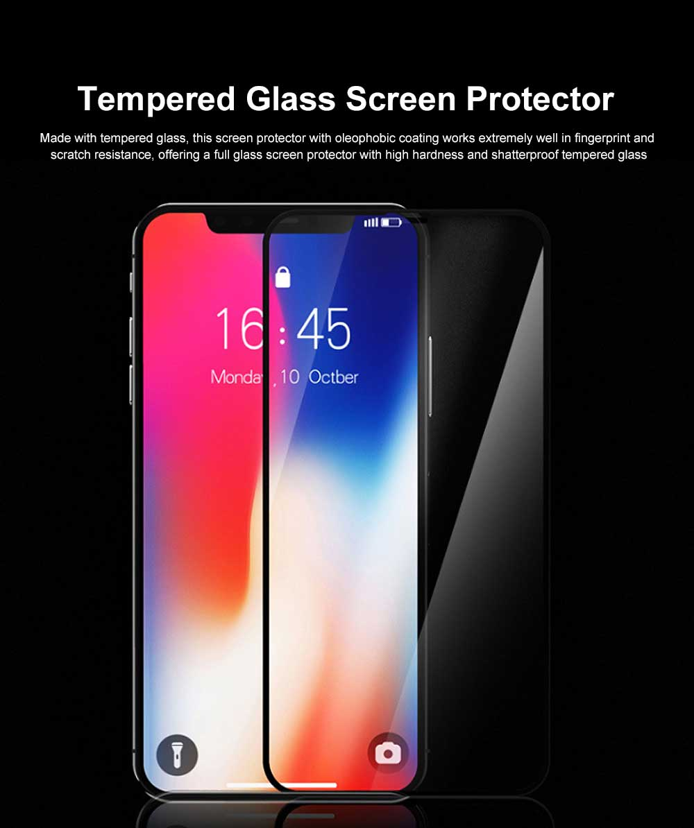 Tempered Glass Screen Protector Full Screen Coverage, Anti-Fingerprint Bubble Free Protector for iPhone X or XS, iPhone XR, iPhone XS Max, iPhone7 or 8, iPhone 7 or 8 plus, iPhone 6 or 6S, iPhone 6S plus 1