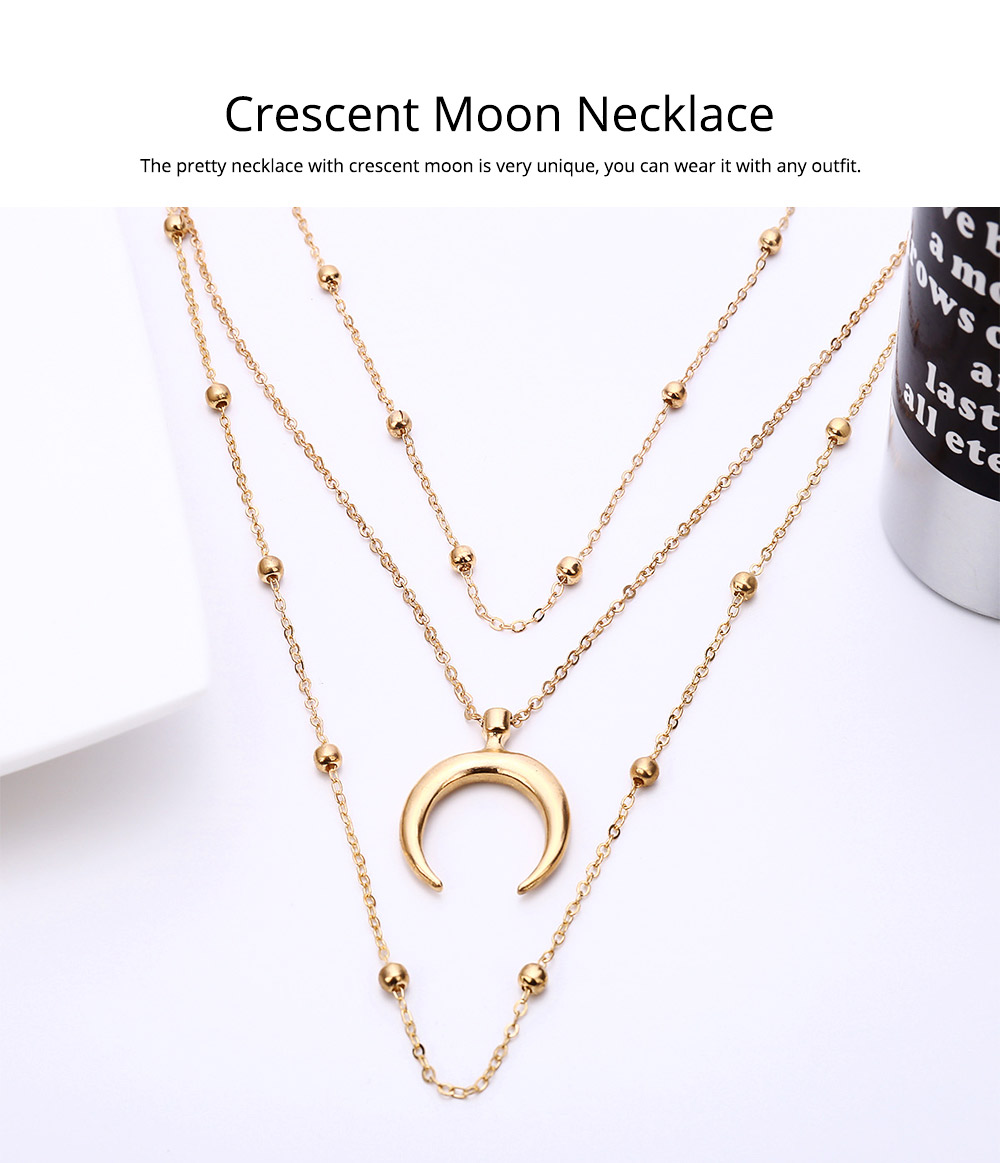 Layered Choker Necklace Pendant Open Circle Crescent Moon Charming Pendant Neck Chain for Women 1