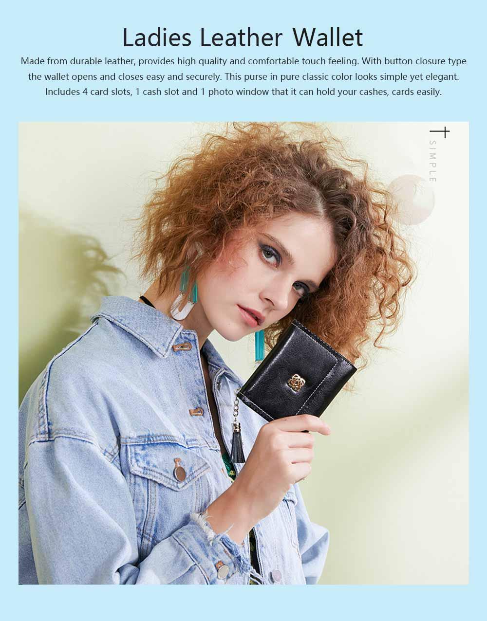 Women Tassel Buckle Purse, Elegant Purse Clutch Portable Mini Pocket Purse, Simple Billfold Purse for Girls 0