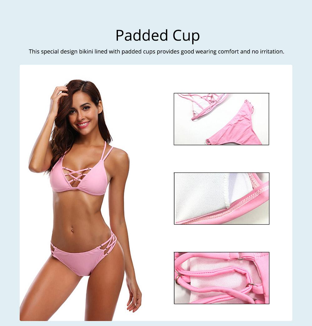 Women's Sexy Bikini with Detachable Padded Cutout Bikini Set Two Piece Swimsuit with Special Top & Bottom Ties Swimwear 3