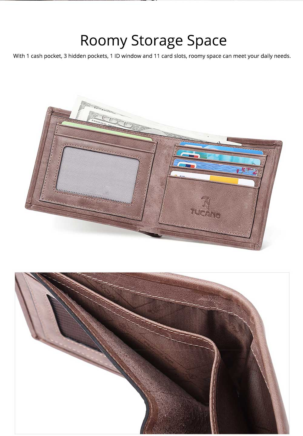 Cow Leather Minimalist Wallet for Men, Fashionable Cross Grain Wallet, Bifold Slim Wallets for Trip Travel Daily Use 1