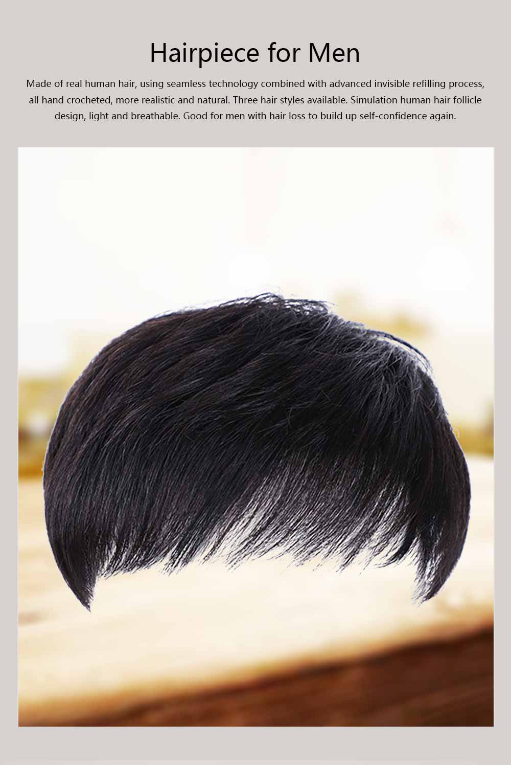 Men's Wigs, Hairpiece for Men, Natural Wig Hair Line for men with Hair Loss, Handsome Short Straight Human Hair Wigs 0