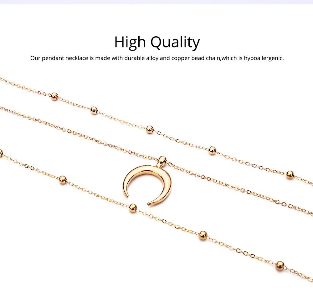 Layered Choker Necklace Pendant Open Circle Crescent Moon Charming Pendant Neck Chain for Women 2