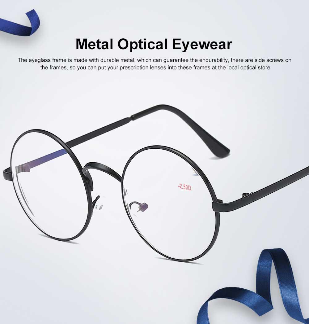 Round Metal Optical Eyewear, Retro Metal Frame Spectacles Frame, Vintage Lightweight Glasses Frame for Men Women 0