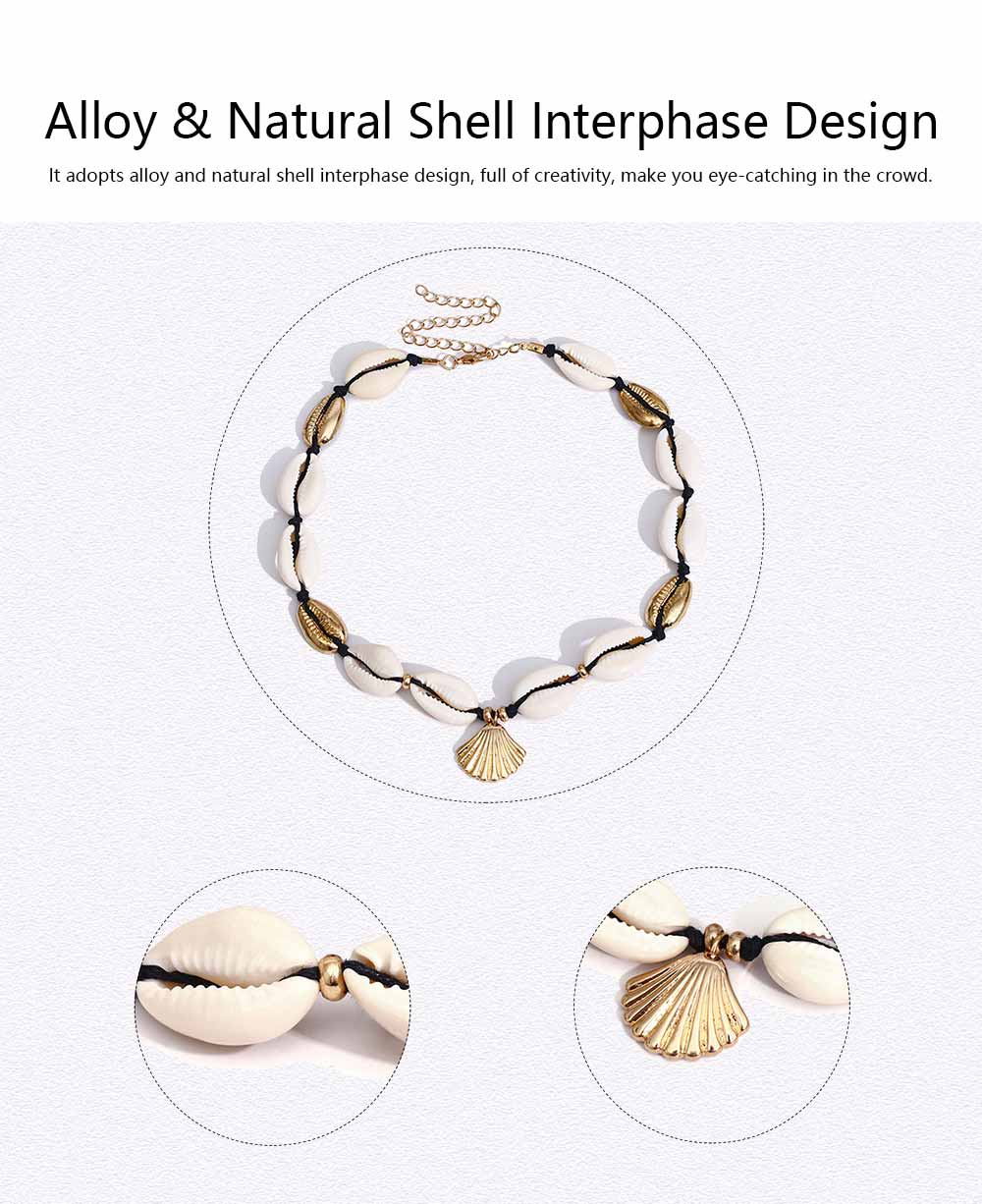 Handmade Shell Necklace Clavicle Chain for Women, Natural Shell Necklace Bracelet Cowrie Choker Collarbone Chain, Adjustable Trible Charms Jewelry 4