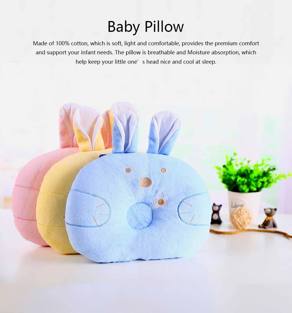 Soft Baby Pillow Anti-headrest, Comfortable Pillow for 0-12 Months Baby, Breathable Baby Pillow, Baby Cotton Pillow, Candy Rabbit Pillow 0