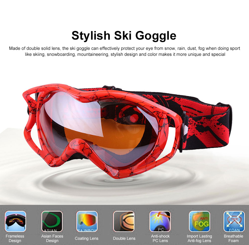 Stylish Ski Goggle with Double Lens PC Lens, Anti-wind Anti-fog Eye Protection Snowboarding Goggle 0