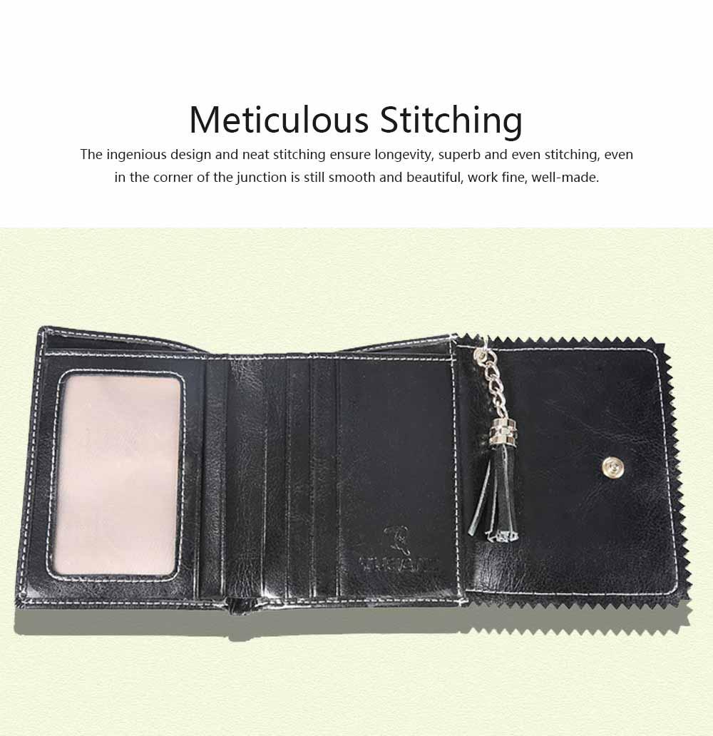 Women Tassel Buckle Purse, Elegant Purse Clutch Portable Mini Pocket Purse, Simple Billfold Purse for Girls 4