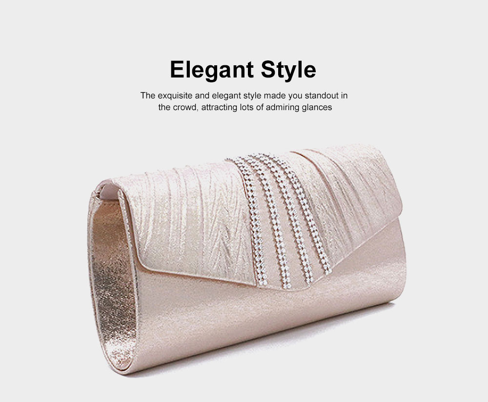 Shiny Clutch for Wedding Evening Party, Elegant Clutch with Chain for Ladies, Girls Shoulder Bag 1