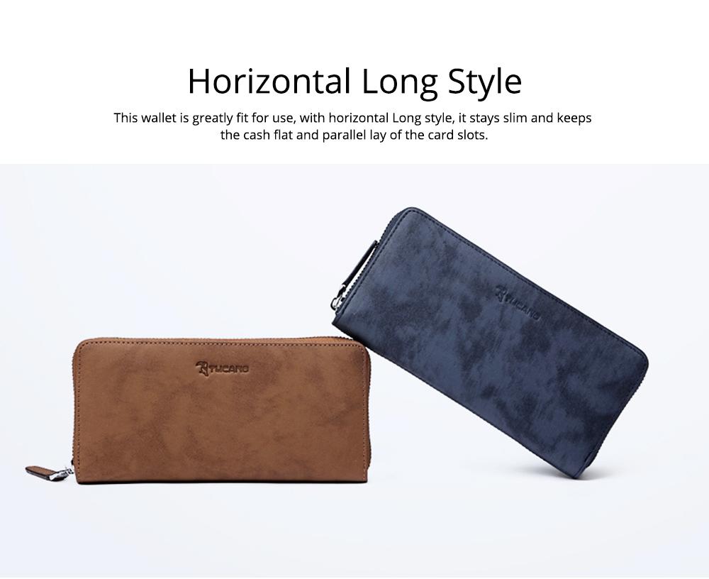 Cowhide Leather Long Wallet with Zipper RFID Blocking, Vintage Bifold Clutch for Men Retro Handbag 5