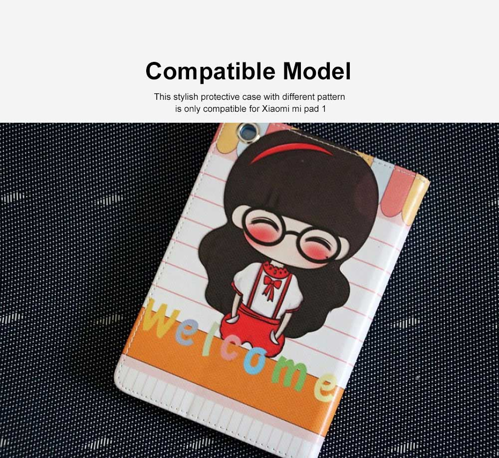 Universal Tablet Case PU Leather Full Protection Flip Cover with Cute Pattern Compatible for Xiaomi Mi Pad 1 1