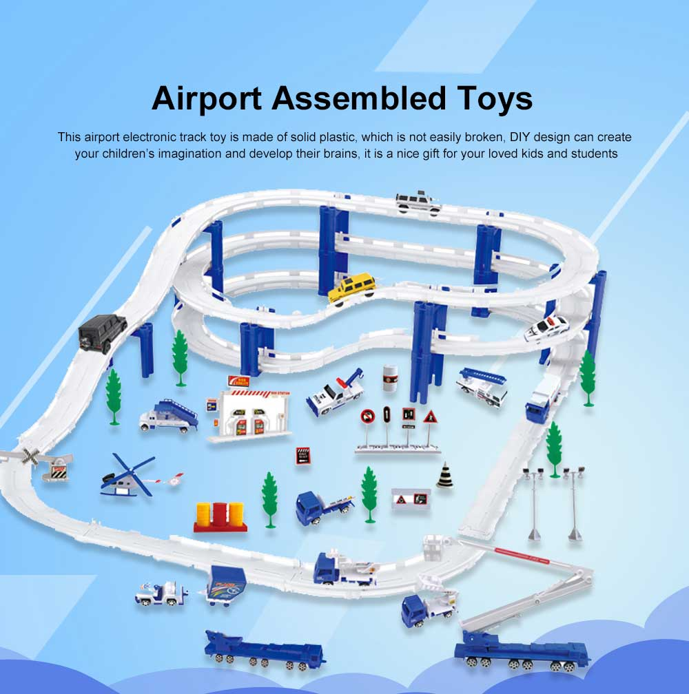 DIY Aircraft Model Playset Airport Assembled Toys Developmental Electronic Track Toy for Kids 0