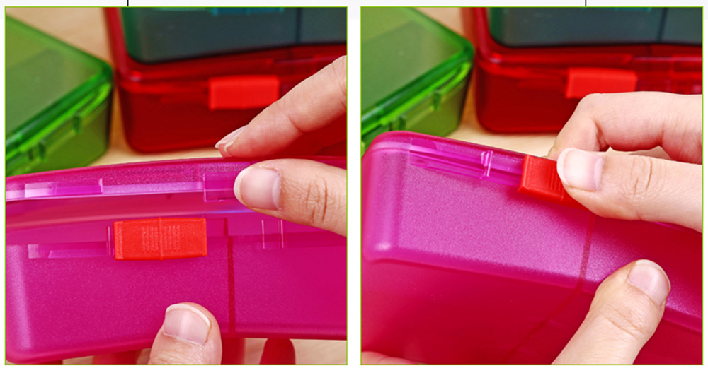 High Capacity Pill Box with Multiple Compartments, PP Safe Pill Case Accessories Organizer for Patient, Kids, Elderly Pill Box 4