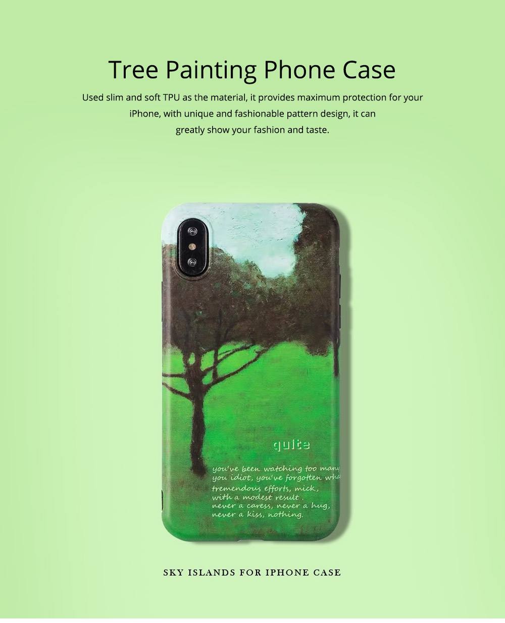 Green Tree Painting Phone Back Cover, Slim Bumper Phone Case for iPhone 6 6s, iPhone 6 plus 6 plus, iPhone 7 8, iPhone X XS, iPhone XS Max, iPhone XR 0