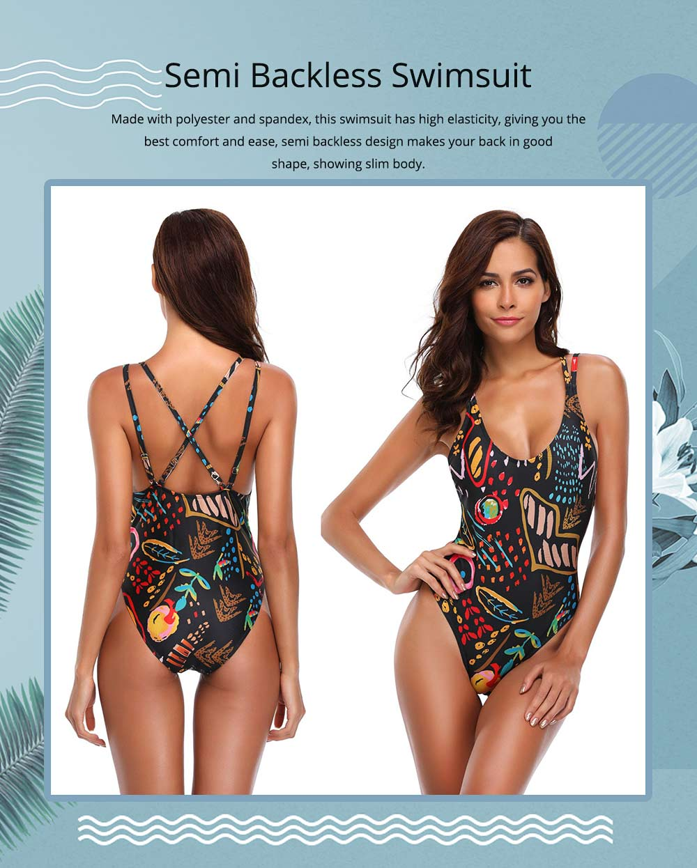 Women One-piece Bathing Suit, Semi Backless Swimsuit with Two Piece Shoulder Strap Swimwear 0