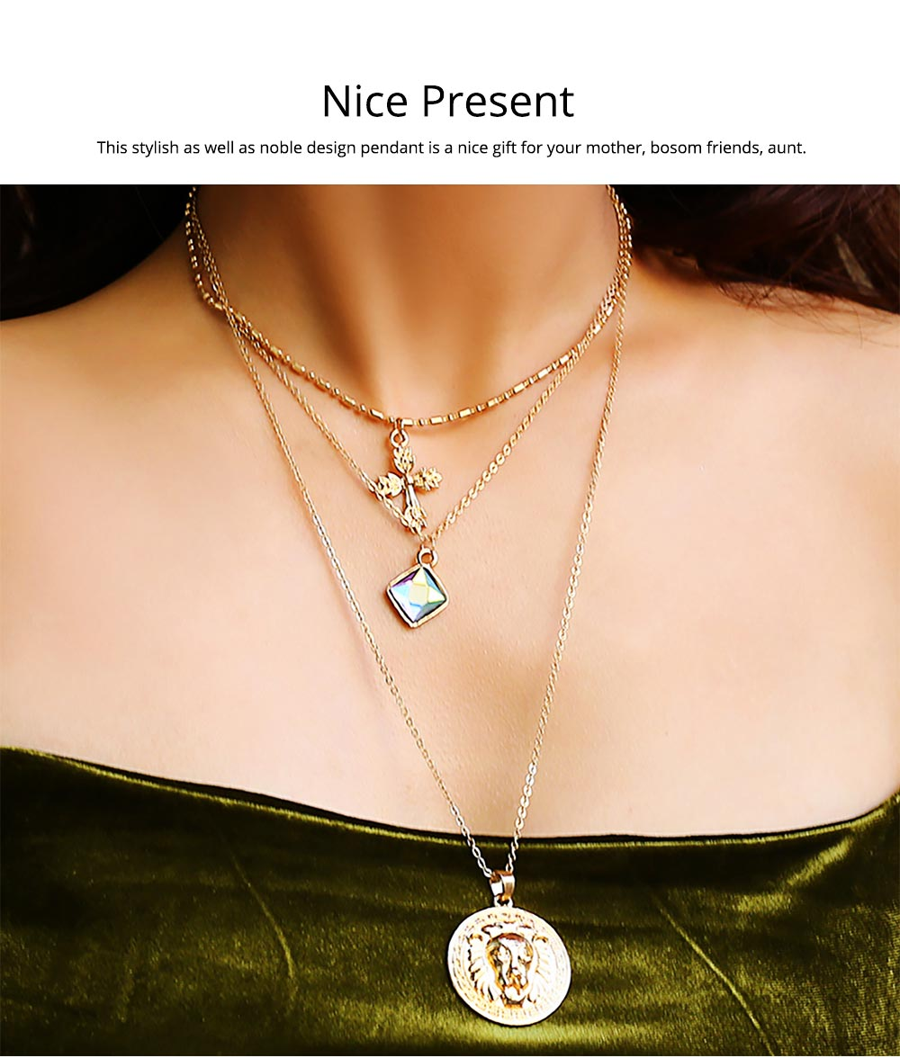 Gold Cross Pendant Necklace, Fashionable Gold Plated Choker Vintage Layered Necklace for Women 2019 5