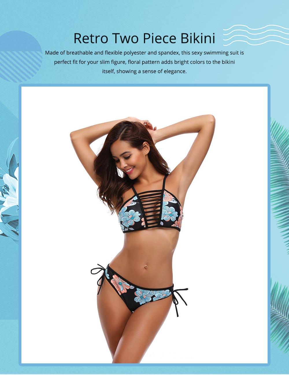 Women Bikini with Retro Halter Neck, Two Piece Swimsuit with Adjustable Bottom Tie Stylish Bikini 0