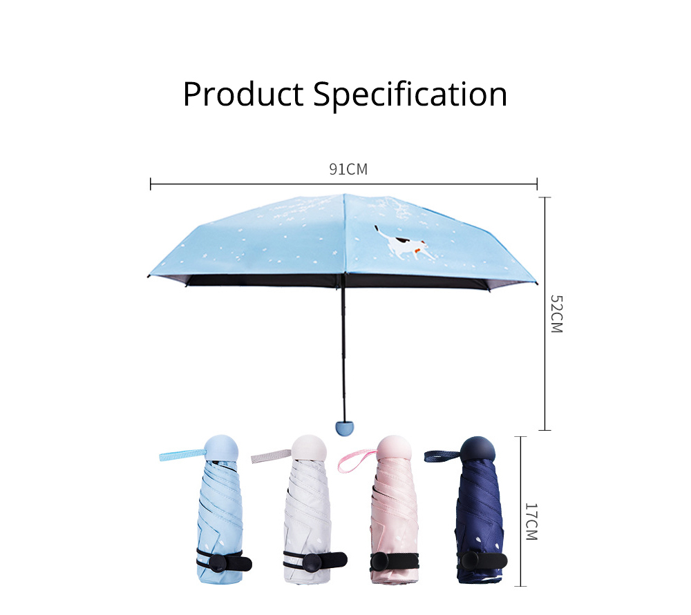 New Mini Super Light Five Folds Umbrella with Cherry Pattern Foldable Sun Protection Parasol Umbrella 8