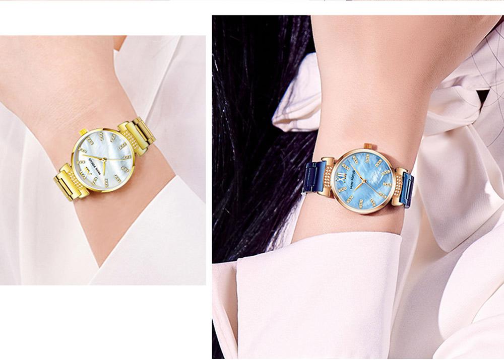 Diamond-mounted Fritillaria Watch for Women, Girls, Stylish Watch with Stainless Steel Watchband Waterproof 30M Wristwatch 8