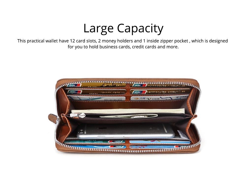 Cowhide Leather Long Wallet with Zipper RFID Blocking, Vintage Bifold Clutch for Men Retro Handbag 2