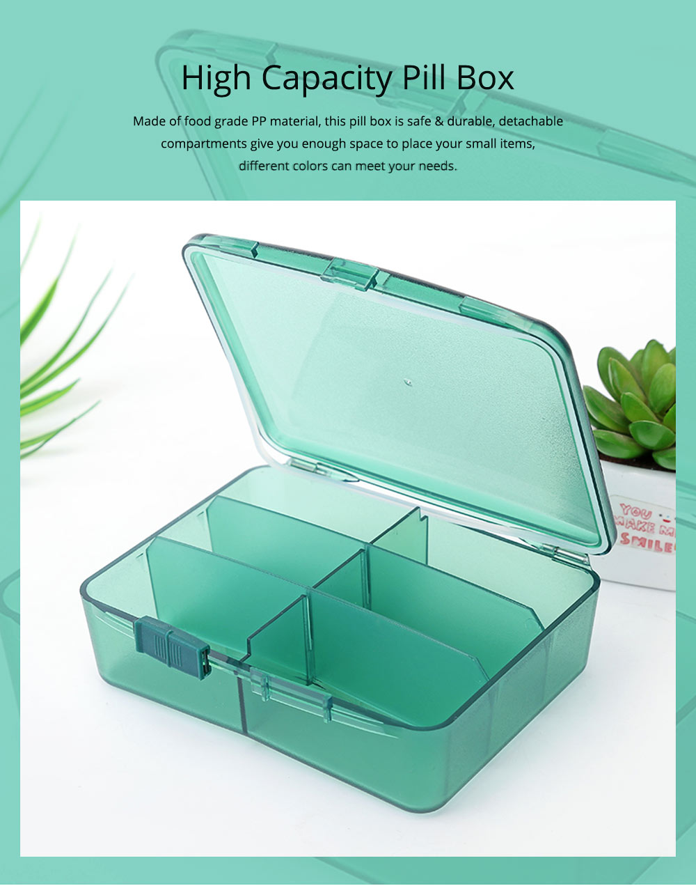 High Capacity Pill Box with Multiple Compartments, PP Safe Pill Case Accessories Organizer for Patient, Kids, Elderly Pill Box 0