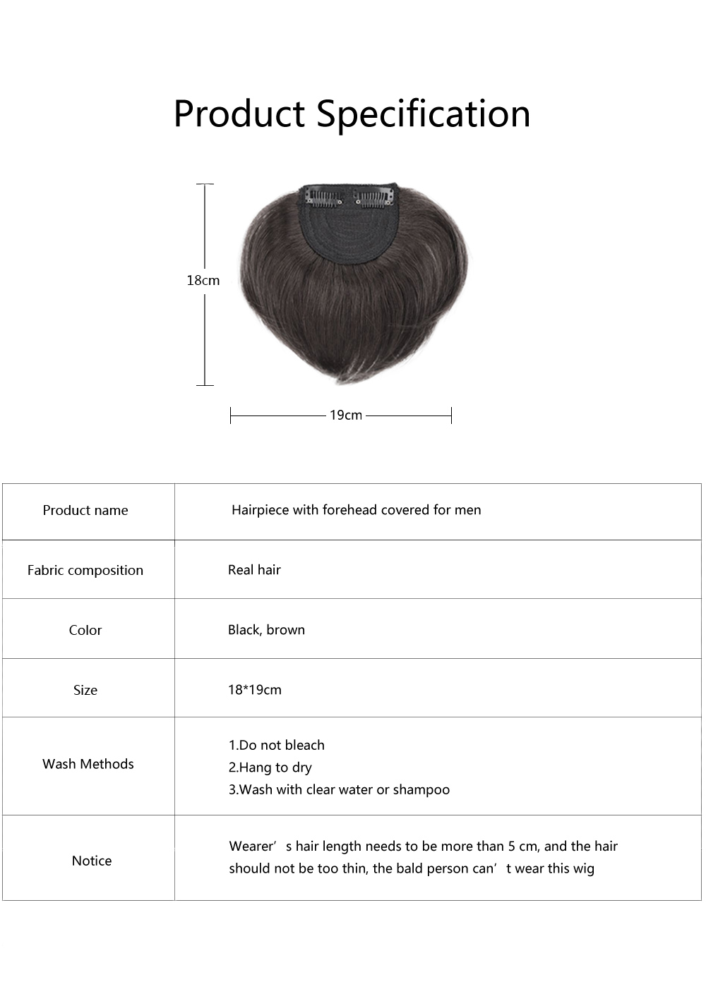 Men's Wig with Forehead Bang Covered, Hairpiece with Bang for Men, Natural Wig Hair Line for High Hairline Men 6