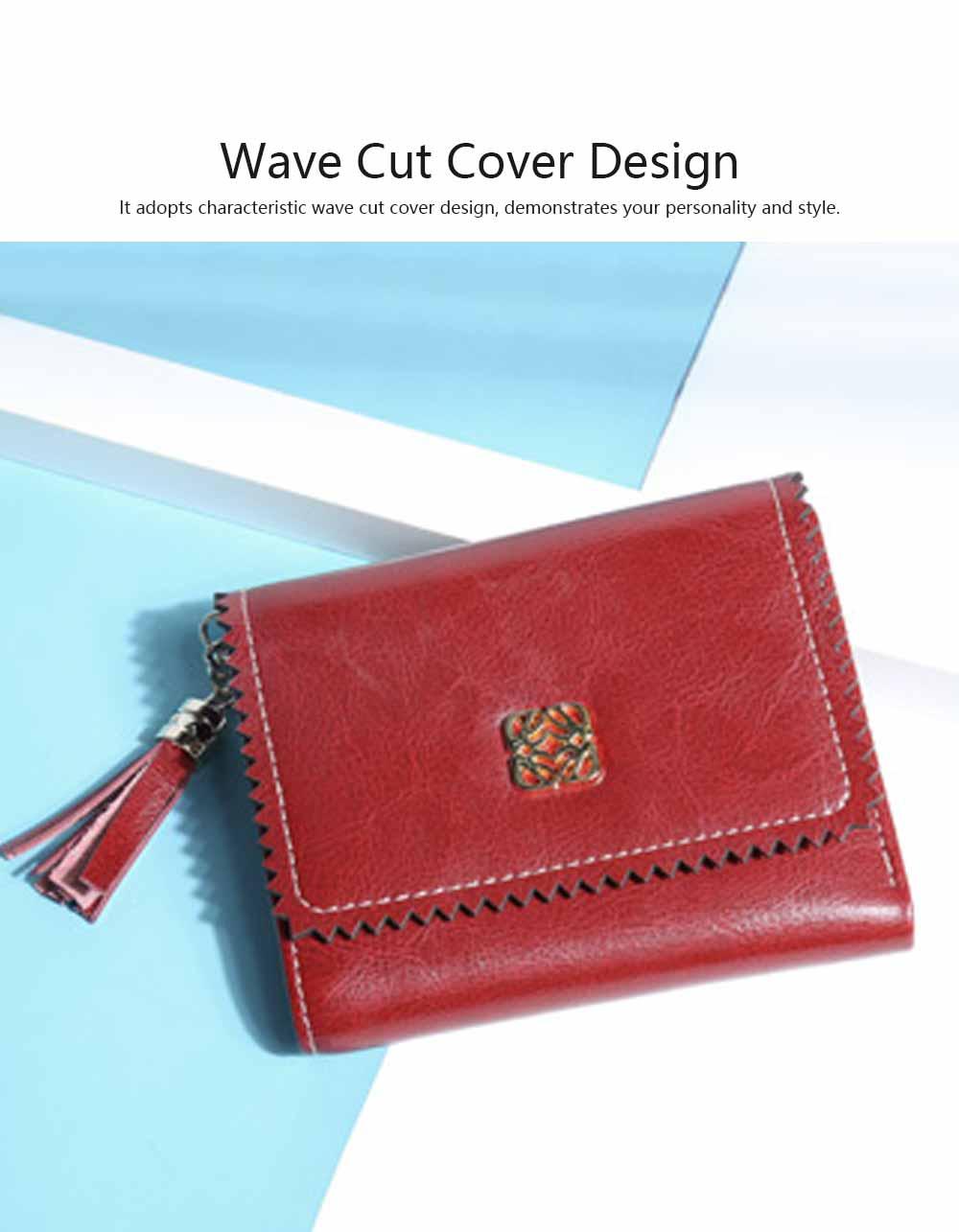 Women Tassel Buckle Purse, Elegant Purse Clutch Portable Mini Pocket Purse, Simple Billfold Purse for Girls 3