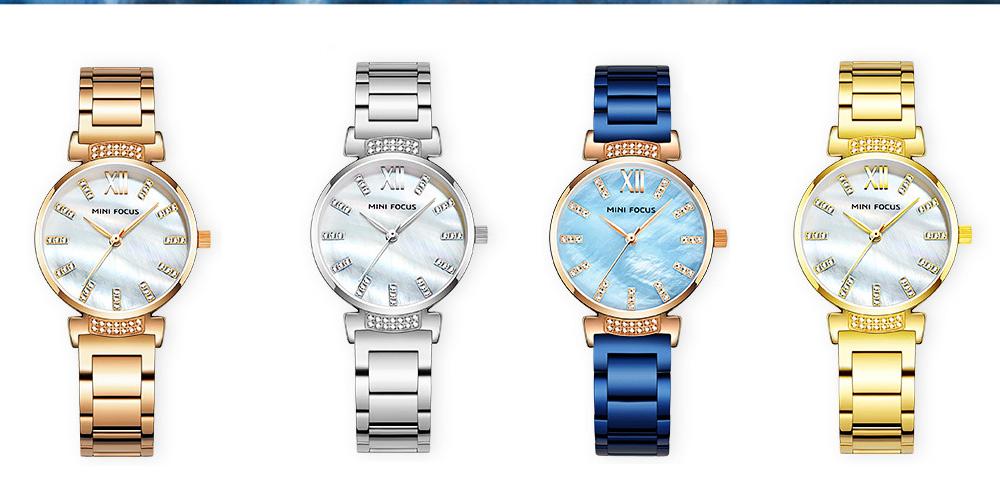 Diamond-mounted Fritillaria Watch for Women, Girls, Stylish Watch with Stainless Steel Watchband Waterproof 30M Wristwatch 3