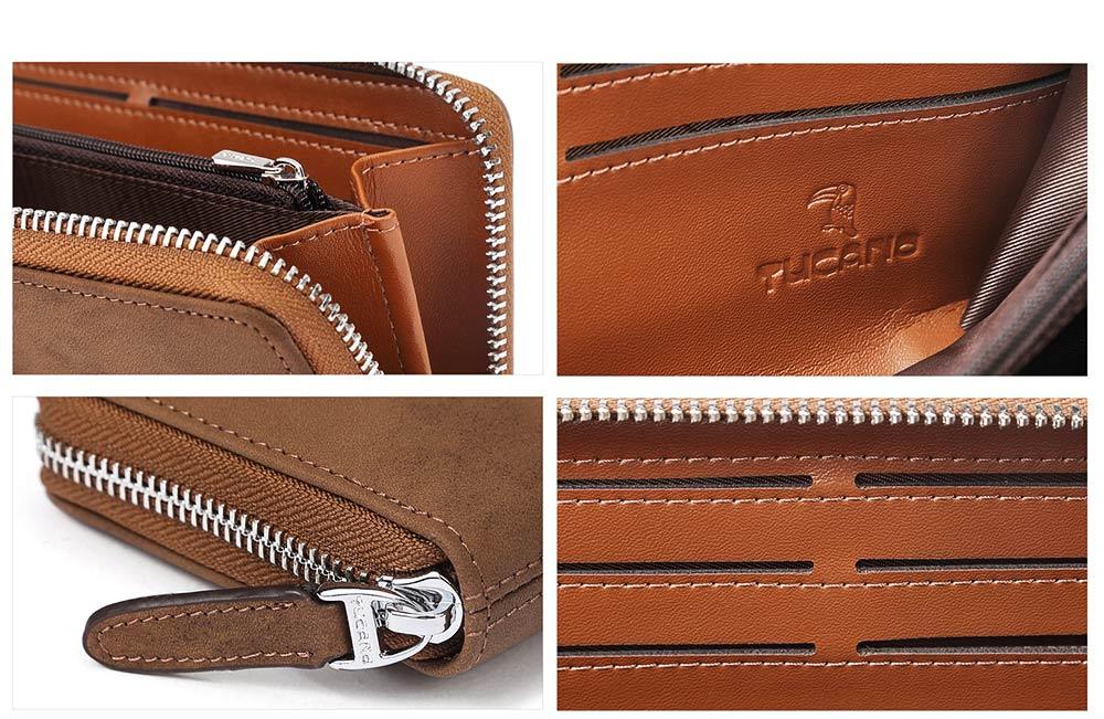 Cowhide Leather Long Wallet with Zipper RFID Blocking, Vintage Bifold Clutch for Men Retro Handbag 3