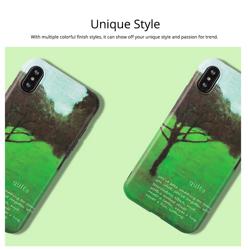 Green Tree Painting Phone Back Cover, Slim Bumper Phone Case for iPhone 6 6s, iPhone 6 plus 6 plus, iPhone 7 8, iPhone X XS, iPhone XS Max, iPhone XR 2