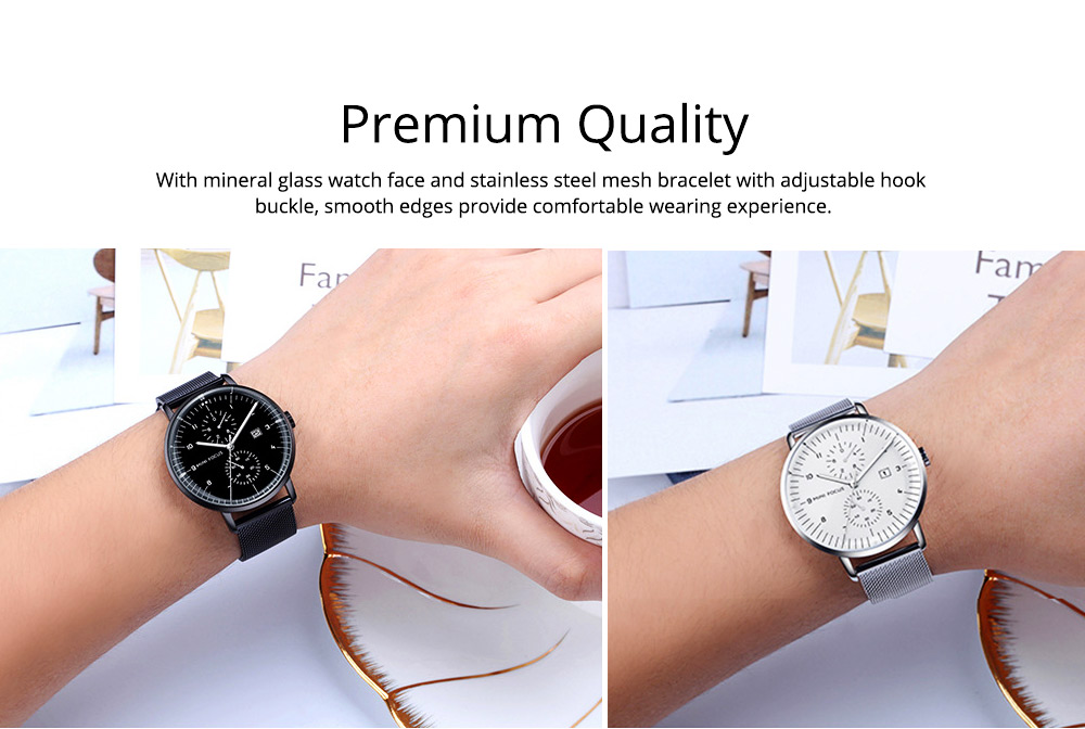 Men Business Quartz Wrist Watch, Fashionable Casual Sport Watch Waterproof Calendar Date Watches with Delicate Milanese Loop Strap 6