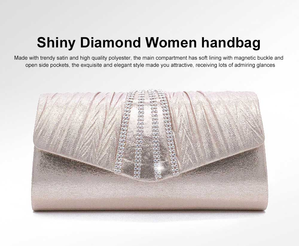 Shiny Clutch for Wedding Evening Party, Elegant Clutch with Chain for Ladies, Girls Shoulder Bag 0