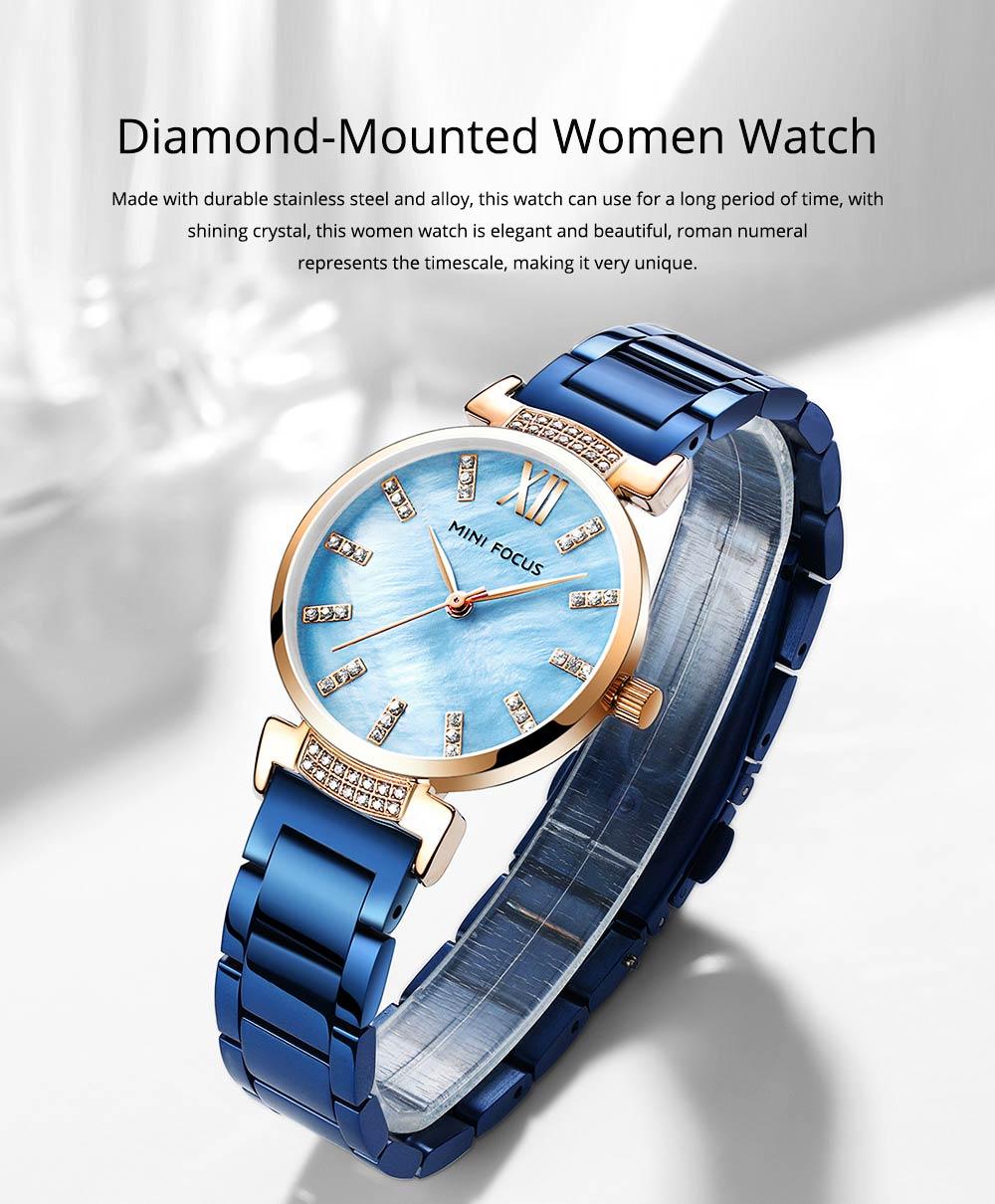 Diamond-mounted Fritillaria Watch for Women, Girls, Stylish Watch with Stainless Steel Watchband Waterproof 30M Wristwatch 0