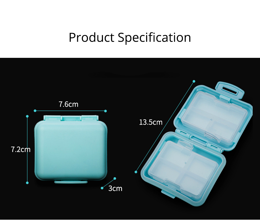 Cute Pill Box Portable 7 Compartments Medicine, Vitamin Plastic Pill Organizer BPA Free for Kids, Elderly 7
