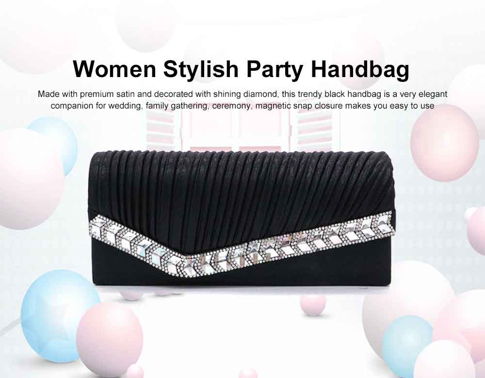 Women Clutch for Wedding Birthday Party, Elegant Long Purse with Diamond Decoration, Elegant Shoulder Bag with Magnetic Snap Detachable Chain  0
