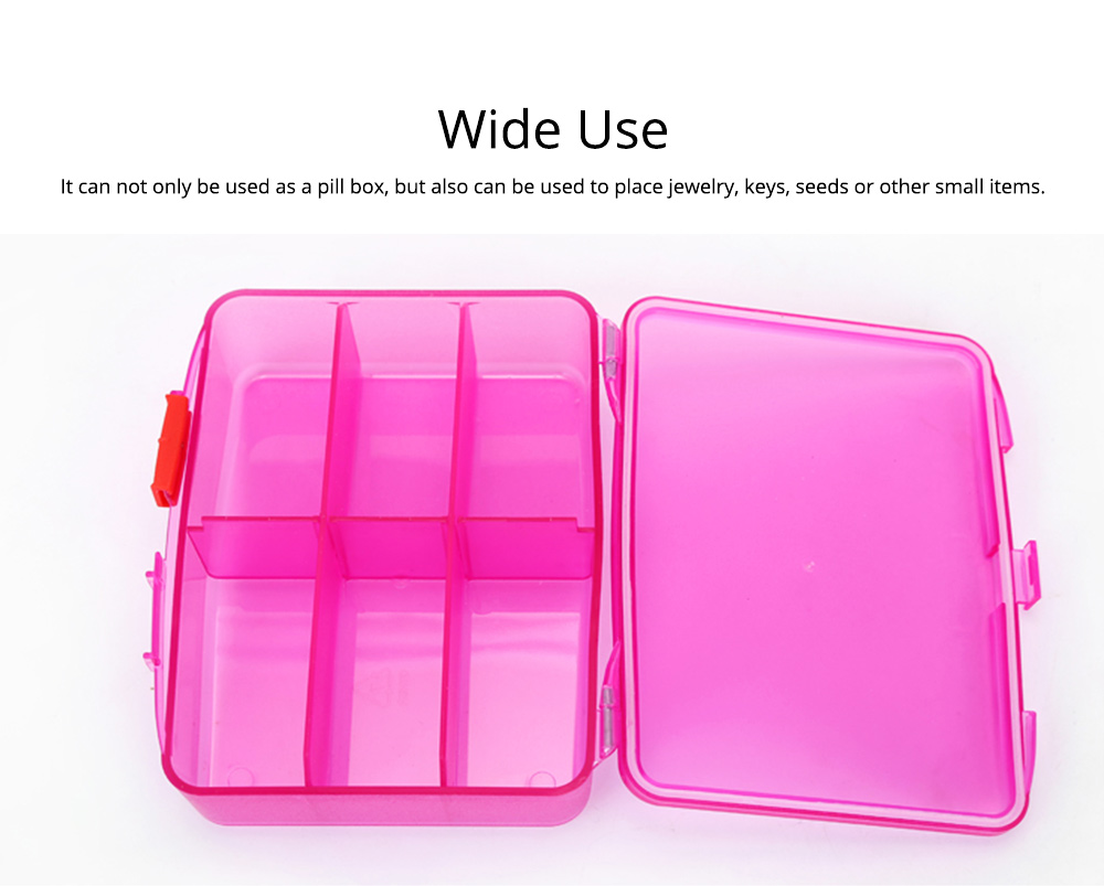 High Capacity Pill Box with Multiple Compartments, PP Safe Pill Case Accessories Organizer for Patient, Kids, Elderly Pill Box 6