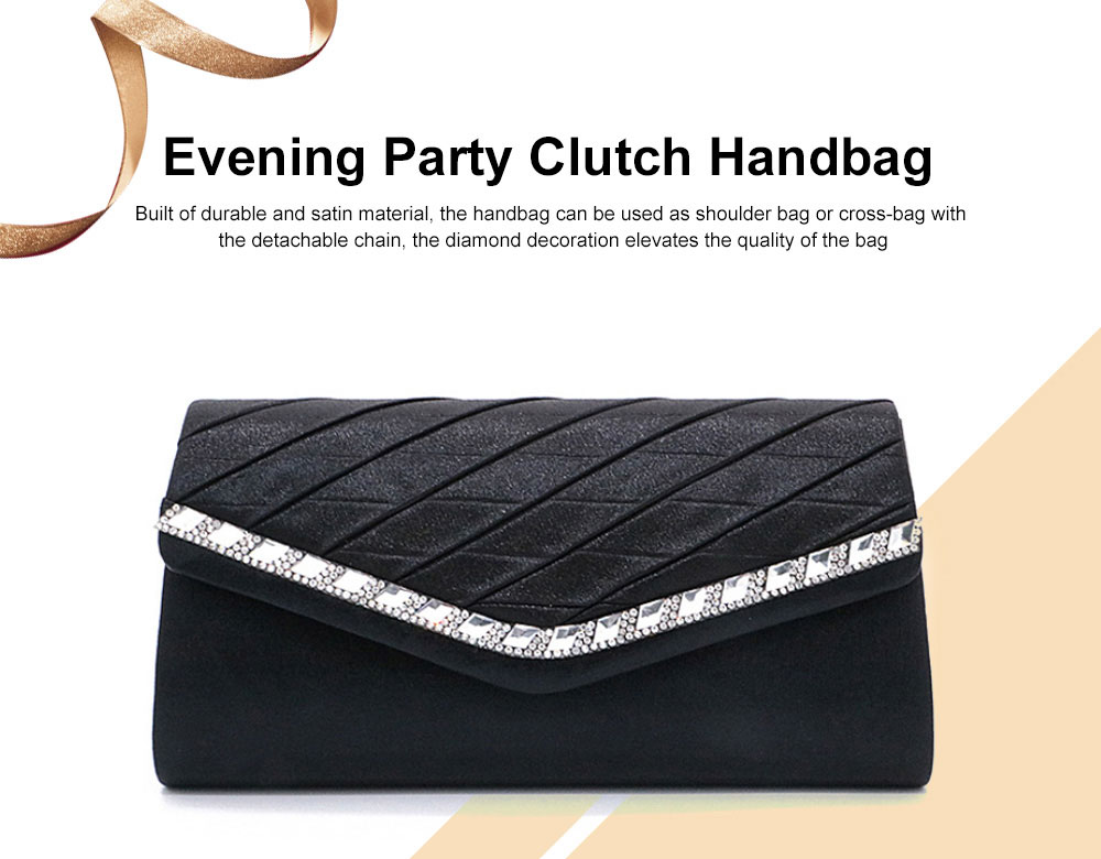 Delicate Ladies Clutch with Sparkling Diamond, Elegant Long Purse for Wedding Evening Party Handbag with Chain Shoulder Cross-body Bag 0
