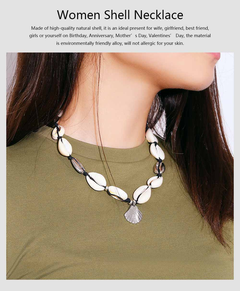 Handmade Shell Necklace Clavicle Chain for Women, Natural Shell Necklace Bracelet Cowrie Choker Collarbone Chain, Adjustable Trible Charms Jewelry 0
