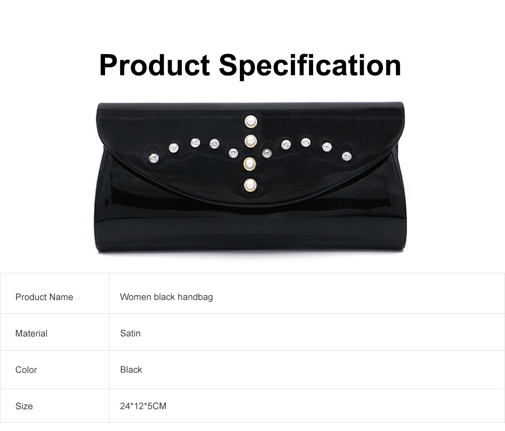 Womens Satin Evening Handbag Clutch with Detachable Chain Strap, Elegant Black Clutch for Wedding Cocktail Party  6