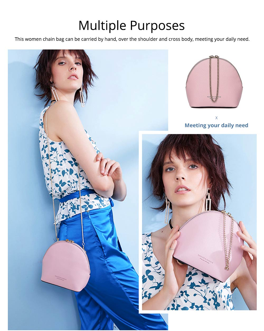 Shell Shape Shoulder Bag, Trendy Simple Style Women Crossbody Bag with Shoulder Chain 2019 New 6