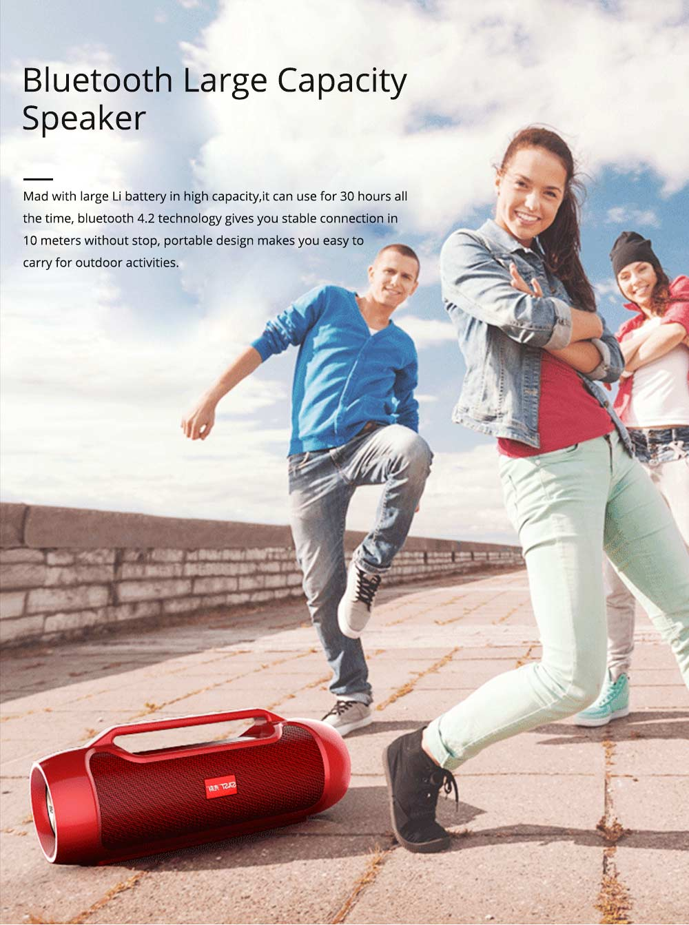 Bluetooth Speaker for Rapper, Dancer, Singer, Portable Brass with High Quality Sound Speaker, Double Horn Large Battery Speaker 0