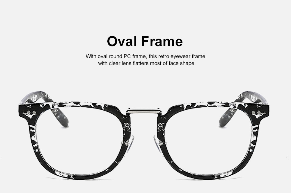 Oval Round Metal Eyeglasses Frame, Unisex Retro Glasses with Clear Replaceable Lens Spectacles 1