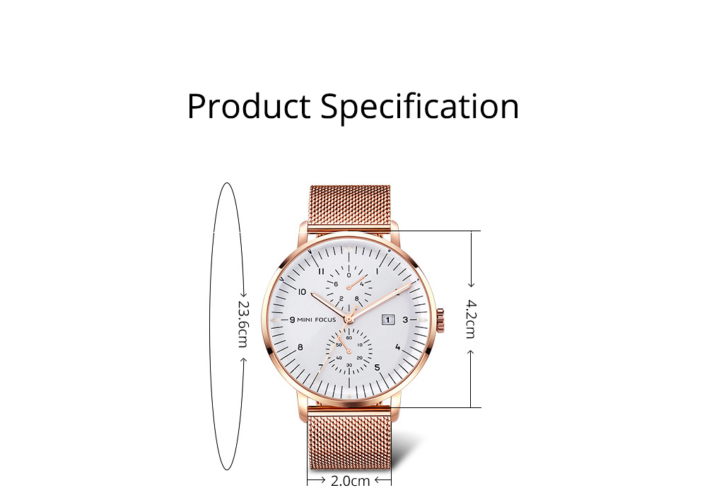 Men Business Quartz Wrist Watch, Fashionable Casual Sport Watch Waterproof Calendar Date Watches with Delicate Milanese Loop Strap 9