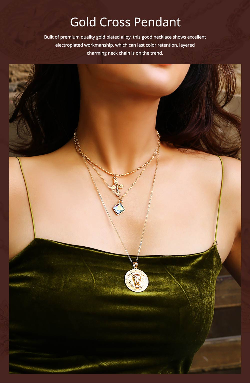 Gold Cross Pendant Necklace, Fashionable Gold Plated Choker Vintage Layered Necklace for Women 2019 0